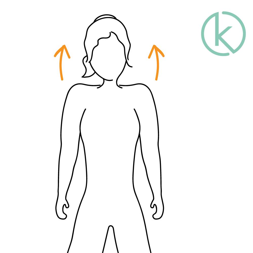 Die Nackenübung Schulterheben kann die Durchblutung fördern.