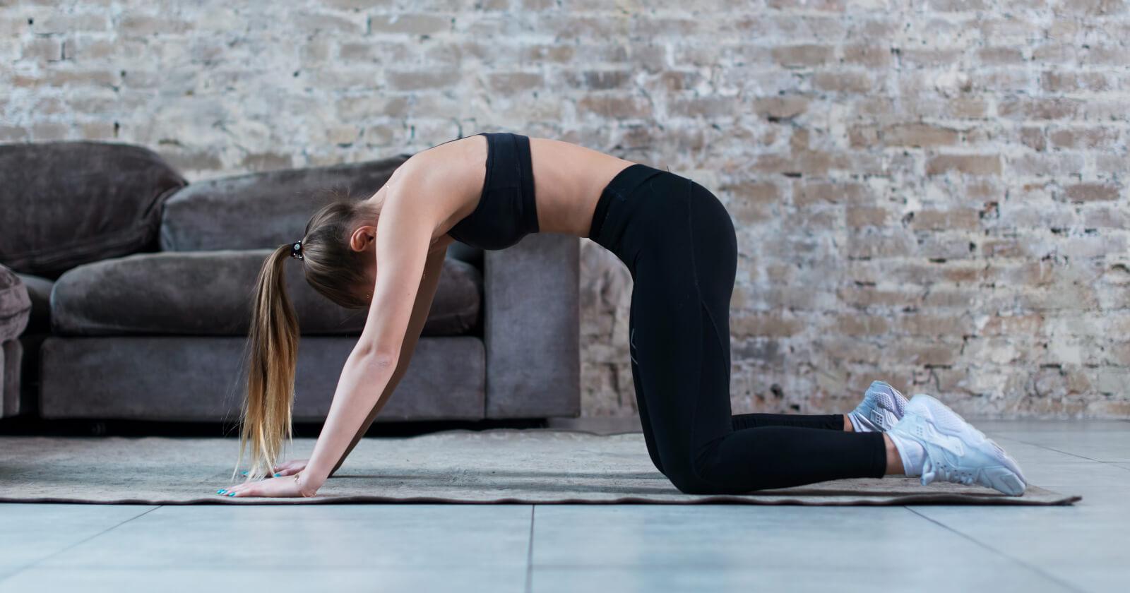 Frau macht die Yoga-Übung Katzenbuckel, um ihren Rücken zu stärken