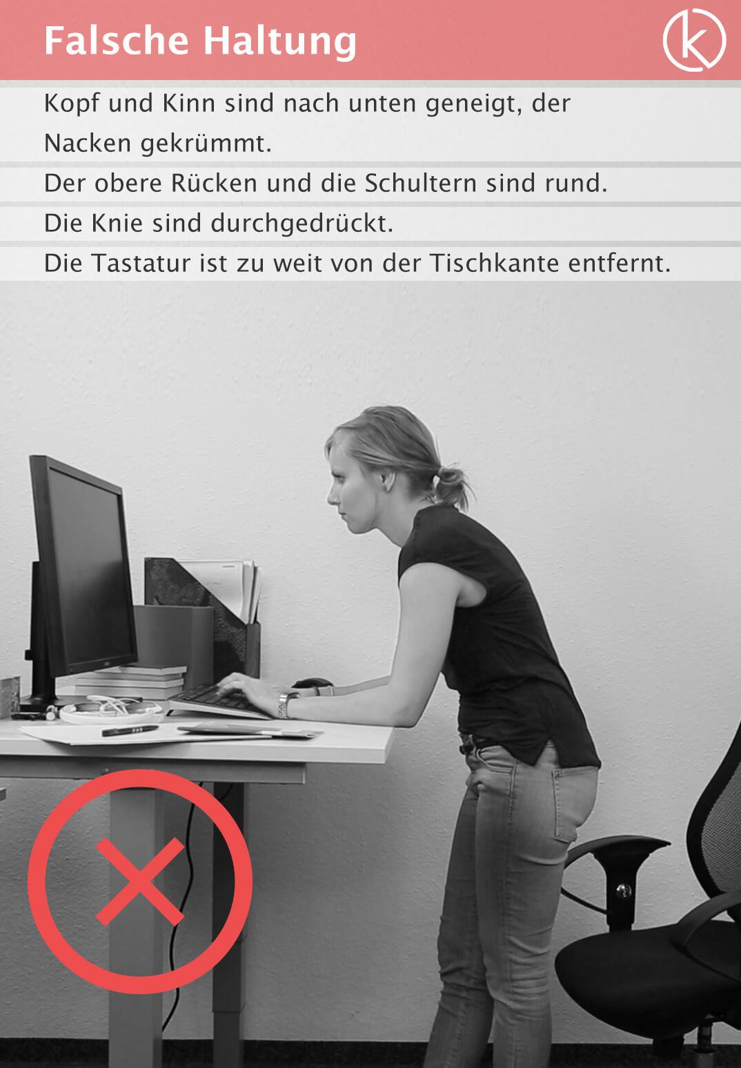 Infografik falsche Haltung am Arbeitsplatz