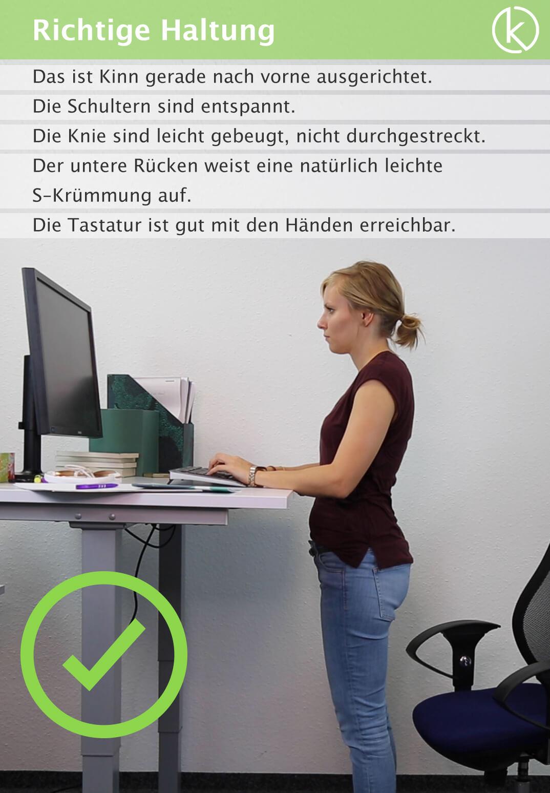 Infografik richtige Haltung am Arbeitsplatz